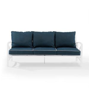 Kaplan White and Navy Outdoor Metal Sofa