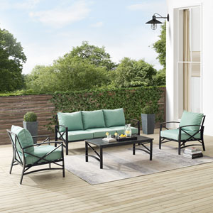 Kaplan Mist and Oil Rubbed Bronze Outdoor Sofa Set, Four Piece