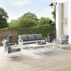 Kaplan Gray and White Outdoor Sofa Set, Four Piece