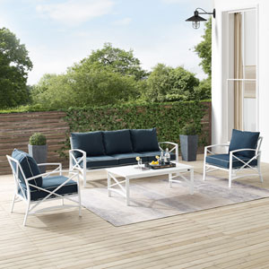 Kaplan Navy and White Outdoor Sofa Set, Four Piece
