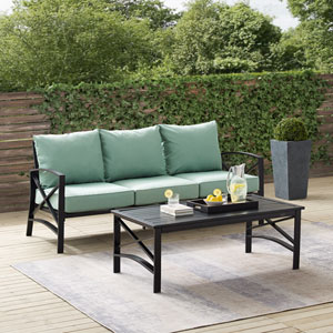 Kaplan Mist and Oil Rubbed Bronze Outdoor Sofa Set, Two Piece