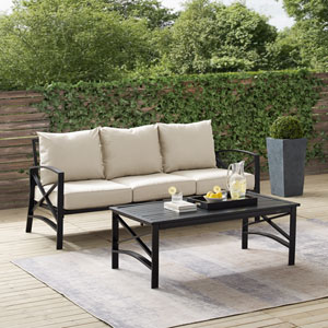 Kaplan Oatmeal and Oil Rubbed Bronze Outdoor Sofa Set, Two Piece
