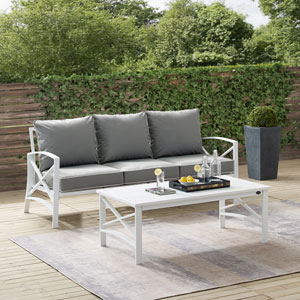 Kaplan Gray and White Outdoor Sofa Set, Two Piece