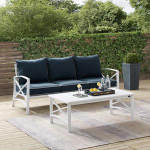 Kaplan Navy and White Outdoor Sofa Set, Two Piece