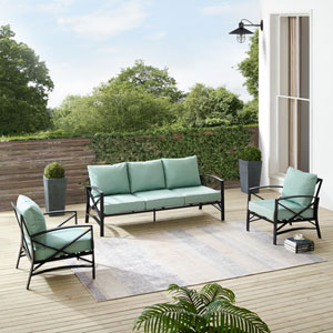 Kaplan Mist and Oil Rubbed Bronze Outdoor Sofa Set, Three-Piece