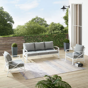 Kaplan Gray and White Outdoor Sofa Set, Three-Piece