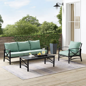 Kaplan Mist and Oil Rubbed Bronze Outdoor Sofa Set with Coffee Table, Three-Piece