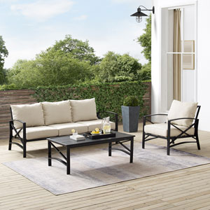 Kaplan Oatmeal and Oil Rubbed Bronze Outdoor Sofa Set with Coffee Table, Three-Piece