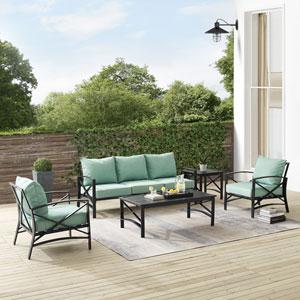 Kaplan Mist and Oil Rubbed Bronze Outdoor Sofa Set, Five-Piece