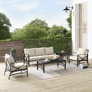 Kaplan Oatmeal and Oil Rubbed Bronze Outdoor Sofa Set, Five-Piece