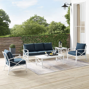 Kaplan Navy and White Outdoor Sofa Set, Five-Piece