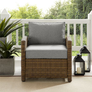 Bradenton Weathered Brown and Gray Outdoor Wicker Armchair