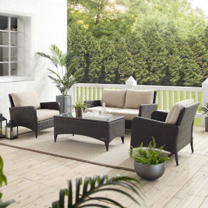 Kiawah Sand Brown Four-Piece Outdoor Wicker Conversation Set