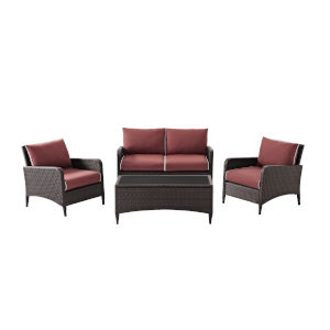 Kiawah Sangria Brown Four-Piece Outdoor Wicker Conversation Set