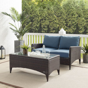 Kiawah Blue Brown Two-Piece Outdoor Wicker Chat Set