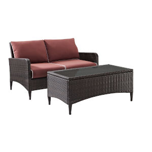 Kiawah Sangria Brown Two-Piece Outdoor Wicker Chat Set