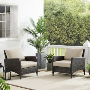 Kiawah Sand Brown Outdoor Wicker Chairs, Set of Two
