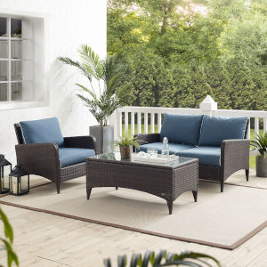 Kiawah Blue Brown Three-Piece Outdoor Wicker Conversation Set