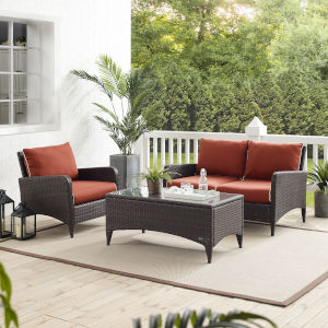 Kiawah Sangria Brown Three-Piece Outdoor Wicker Conversation Set