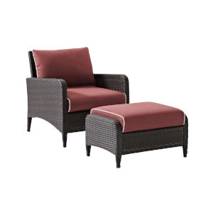 Kiawah Sangria Brown Two-Piece Outdoor Wicker Chair Set