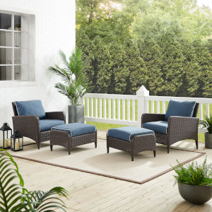 Kiawah Blue Brown Four-Piece Outdoor Wicker Chat Set