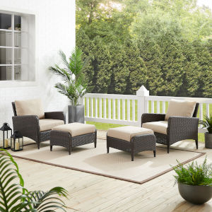 Kiawah Sand Brown Four-Piece Outdoor Wicker Chat Set