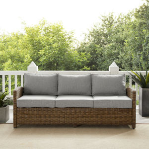 Bradenton Weathered Brown and Gray Outdoor Wicker Sofa