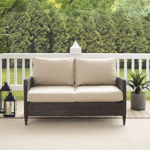 Kiawah Sand Brown Outdoor Wicker Loveseat