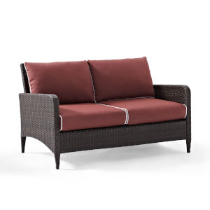 Kiawah Sangria Brown Outdoor Wicker Loveseat