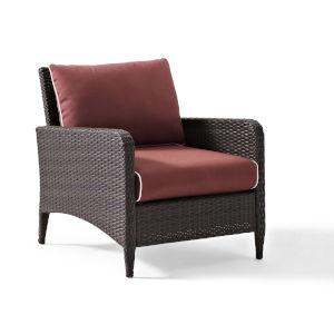 Kiawah Sangria Brown Outdoor Wicker Arm Chair