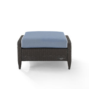 Kiawah Blue Brown Outdoor Wicker Ottoman