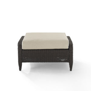 Kiawah Sand Brown Outdoor Wicker Ottoman