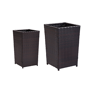 Palm Harbor Brown Wicker and Steel Planter Set