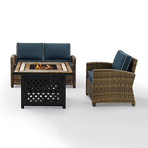 Bradenton Weathered Brown with Navy Cushion and Fire Table Three Piece Outdoor Armchair Loveseat