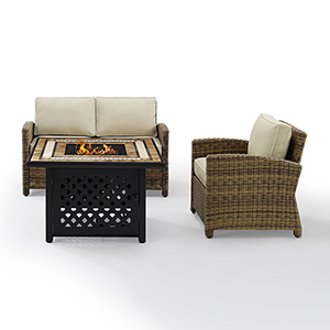 Bradenton Weathered Brown with Sand Cushion and Fire Table Three Piece Outdoor Armchair Loveseat