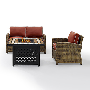 Bradenton Weathered Brown with Sangria Cushion and Fire Table Three Piece Outdoor Armchair Loveseat