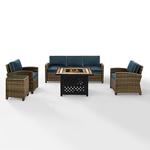 Bradenton Weathered Brown with Navy Cushion Five Piece Outdoor Wicker Sofa Set with Side table and Fire Table