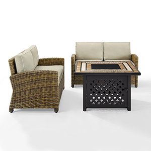 Bradenton Weathered Brown with Sand Cushion and Fire Table Three Piece Outdoor Loveseat