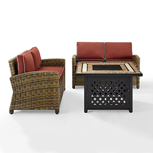 Bradenton Weathered Brown with Sangria Cushion and Fire Table Three Piece Outdoor Loveseat