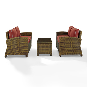 Bradenton Weathered Brown with Sangria Cushion and Coffee Table Three Piece Outdoor Loveseat