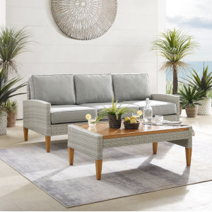 Capella Gray Outdoor Wicker Sofa with Coffee Table