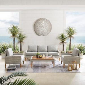 Capella Gray Outdoor Wicker Sofa Set with Coffee Table, Sofa and 2 Chair