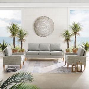 Capella Gray Outdoor Wicker Sofa Set - Sofa and 2 Chair