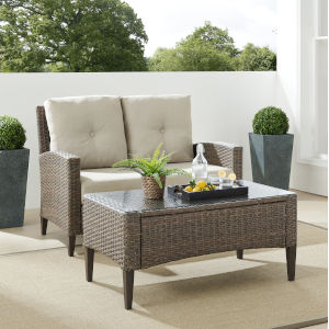 Rockport Brown Outdoor Wicker Conversation Set, 2 Piece