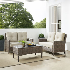 Rockport Brown Outdoor Wicker Conversation Set, 3 Piece