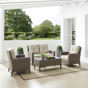 Rockport Brown Outdoor Wicker Conversation Set, 4 Piece