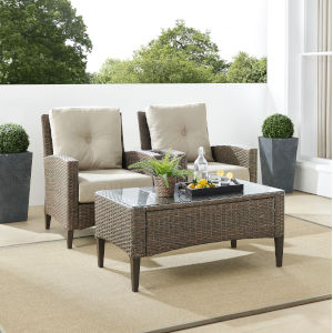 Rockport Brown Outdoor Wicker High Back Arm Chair Set, 3 Piece