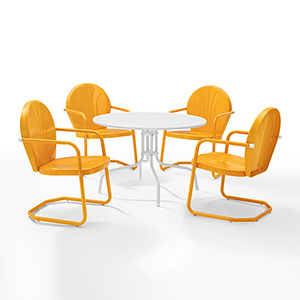 Griffith Tangerine Five Piece Outdoor Dining Set