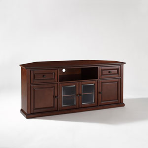 60 Inch Corner TV Stand in Vintage Mahogany