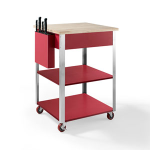 Culinary Red Prep Kitchen Cart